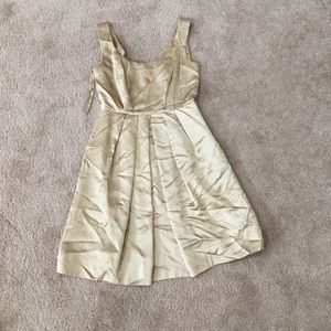 Gold darted fit and flare dress 100% silk lining